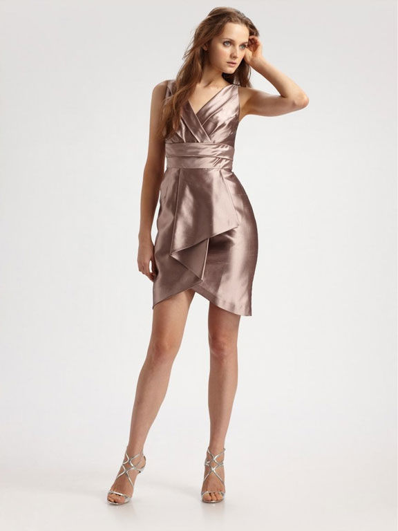 Kay Unger Silk Dupioni Surplice Dress Your Store