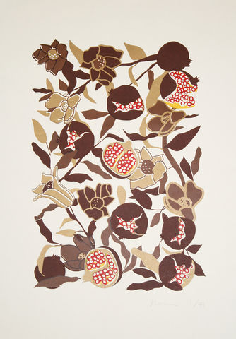 Screen,Print,Pomegranate,print, Japanese, paper, pomegranate, B3, limited edition, ink, hand print