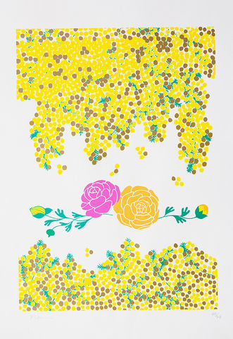 Screen,Print,Mimosa,print, Japanese, paper, mimosa, ranunculus, B3, limited edition, ink, hand print