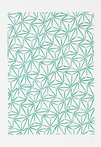 Screen,Print,Japanese,Pattern,2017,print, Japanese, paper, pattern, B3, limited edition, ink, hand print, green