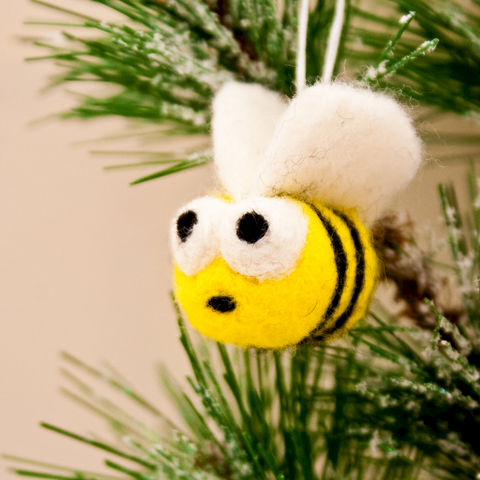 Needle,felted,bumblebee,Christmas,ornament,Needlecraft,Felted,Animal,bumble bee,bee,yellow,Gifts under 15,Bee ornament,Miniature bee,Felted ornament,Tree ornament,Christmas ornament,Needle felted bee,Bumble bee ornament,wool roving,Ribbon