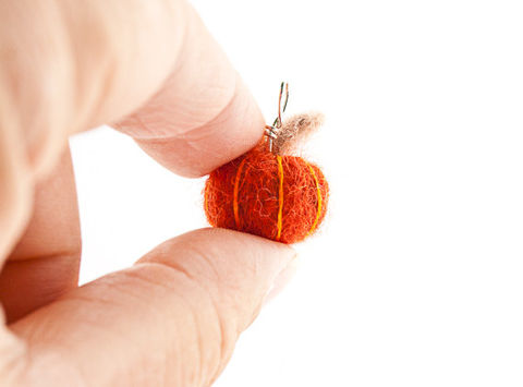 Pumpkin,pendant,,needle,felted,miniature,jewelry,Jewelry,Pendant,Fiber,fall,autumn,pumpkin,orange,halloween,decoration,cute,tiny,needle_felted,felt,pumpkin_pendant,pumpkin_ornament,wool roving,sterling silver