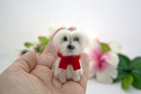 Maltese,custom,needle,felted,dog,ornament,from,photos,Needle felted dog, Needle felted Maltese, Custom Maltese dog ornament, Custom dog ornament, Dog memorial, Maltese dog memorial, Custom pet portrait, 3D dog portrait, Handmade wool dog ornament, Miniature dog ornament, Dog figurine, Pet figurine, Custom do