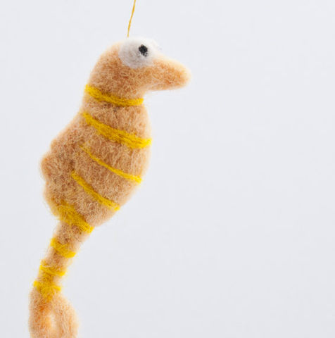 Seahorse,miniature,needle,felted,Needlecraft,Felted,Animal,seahorse,yellow,beach,needle_felted,cute,pendant,ornament,home_decor,sea,tiny,Canada,wool_roving,embroidery_floss
