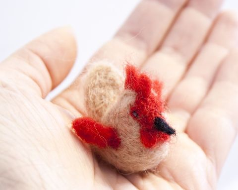 Rooster,felted,miniature,Dolls_and_Miniatures,Waldorf,Needle_Felted,rooster,red,brown,tiny,cute,ornament,stocking_stuffer,craftsbykeri,canada_ontario,little,pocket_friend,wool_roving