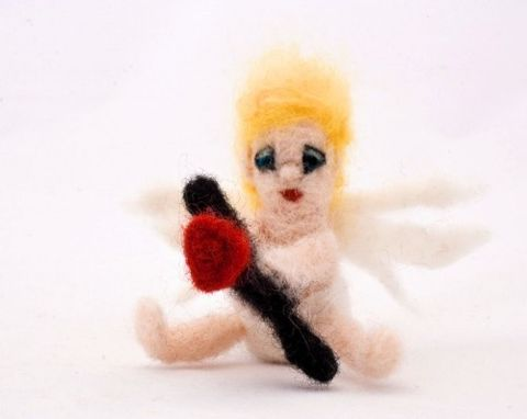 Cupid,needle,felted,miniature,Dolls_and_Miniatures,Miniature,Needle_Felted,human_figure_doll,waldorf,cupid,angel,cherub,cute,tiny,white,valentines,heart,craftsbykeri,needle_felted,wool_roving,mohair_yarn