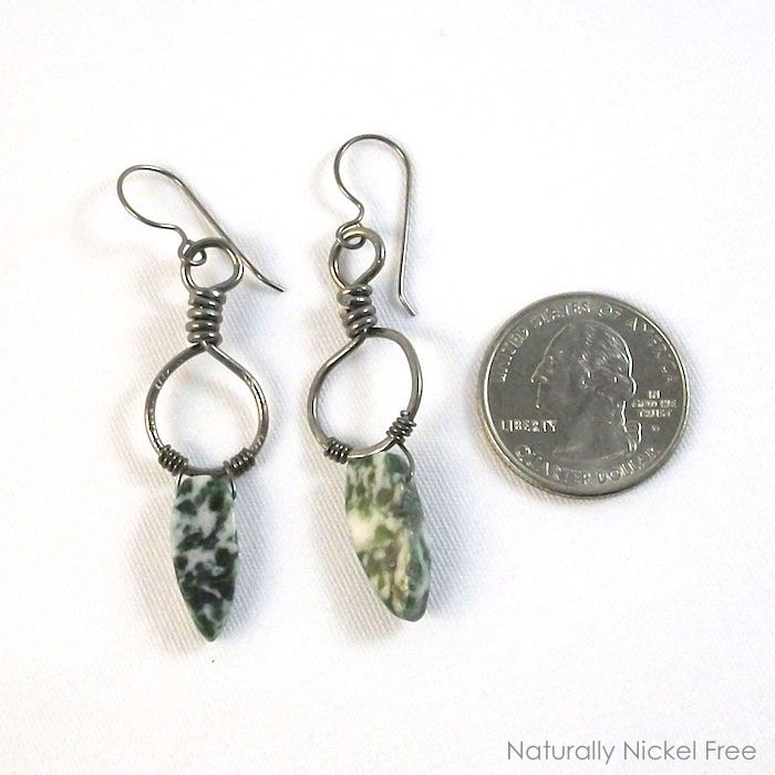 Green Leaf Jasper Niobium Loop Dangle Earrings - product images  of