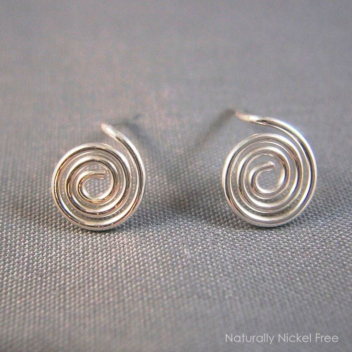 Spiral Post Earrings Argentium Sterling Silver with Titanium Backs - product images  of