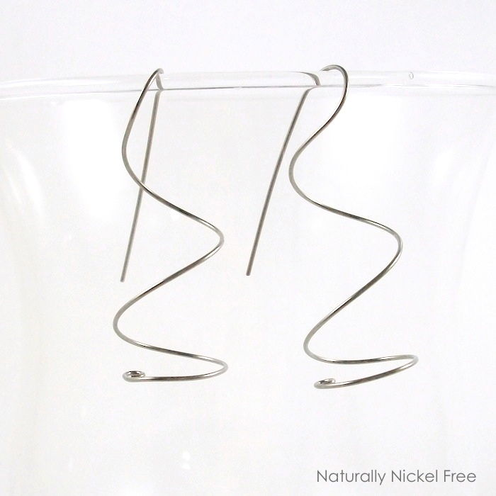 Niobium Wire Ear Curls Twisted Earrings, Choose Your Color - product images  of