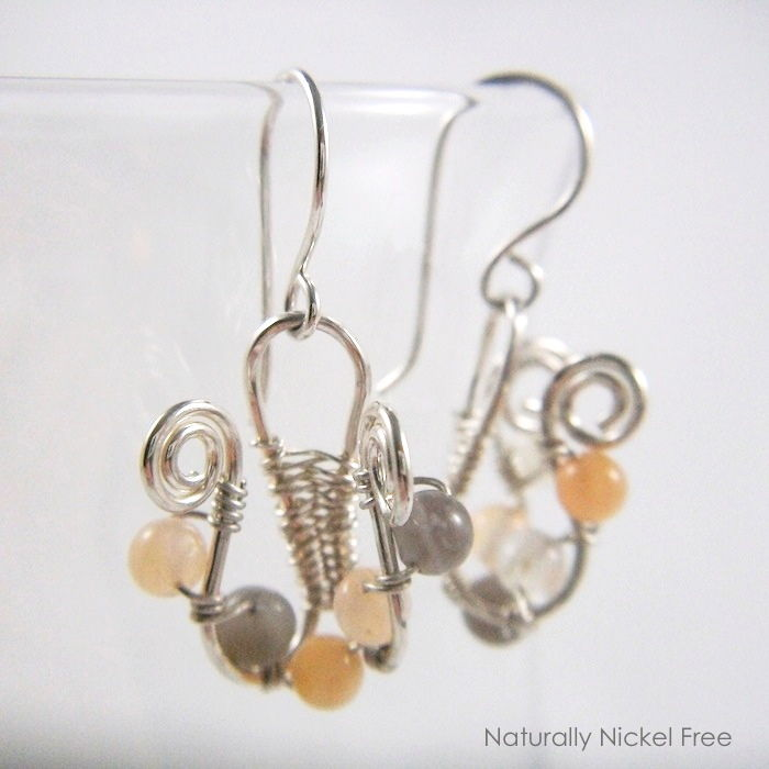 Moonstone Lyre Wire Weave Earrings - product image