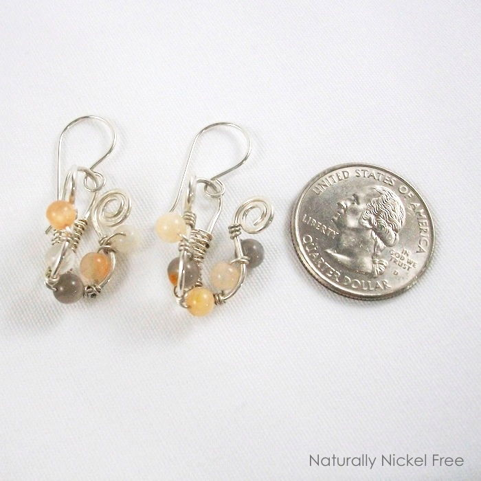 Moonstone Lyre Wire Weave Earrings - Naturally Nickel Free