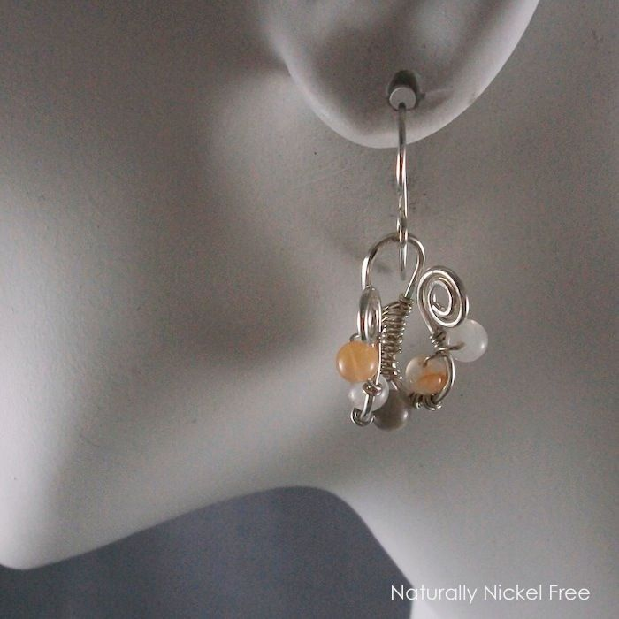 Moonstone Lyre Wire Weave Earrings - product images  of