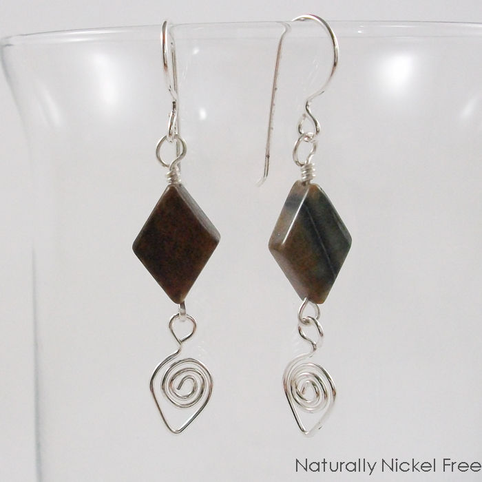 Picasso Jasper Bead Dangles with Argentium Sterling Silver Teardrops - product image