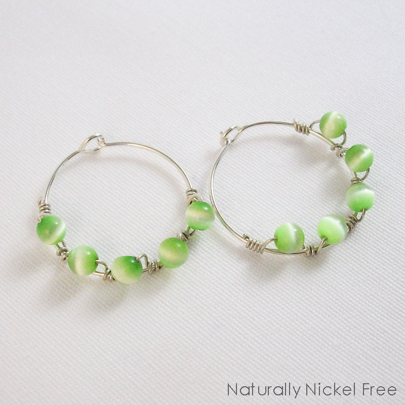 Argentium Sterling Silver with Spring Green Cats Eye Beads Wire ...