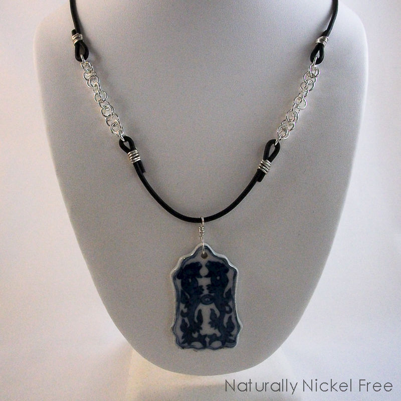 Dragon Necklace with Leather and Silver Chain - product image