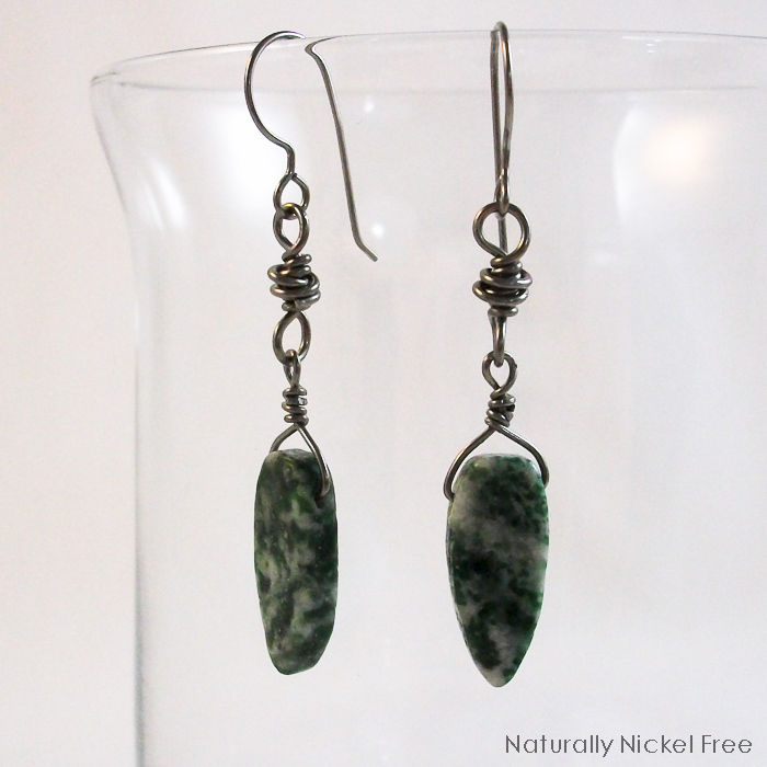 Green Leaf Jasper Dangle Earrings with Niobium Earwires - product image