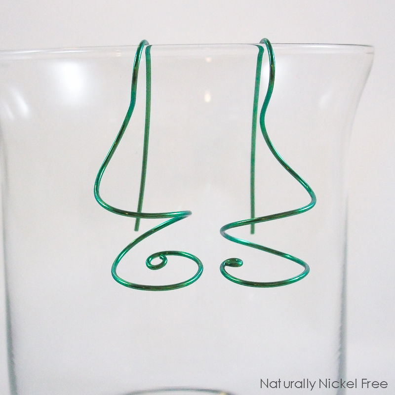 Niobium Wire Ear Curls Twisted Earrings, Choose Your Color - product image