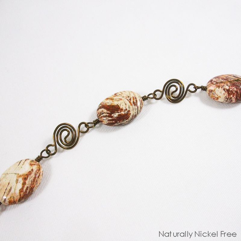 Chocolate Jasper Bracelet with Niobium Spiral Chain - product image