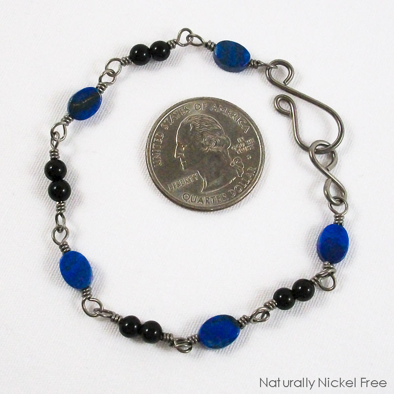 Lapis Lazuli Niobium Bracelet with Onyx Accent - product images  of