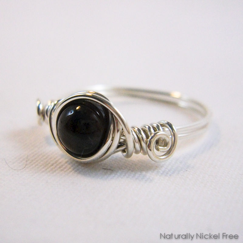 Garnet Wire Wrapped Ring in Argentium Sterling Silver - product image