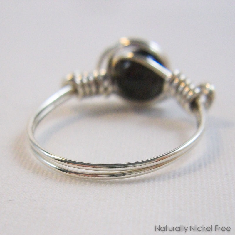 Garnet Wire Wrapped Ring in Argentium Sterling Silver - product images  of