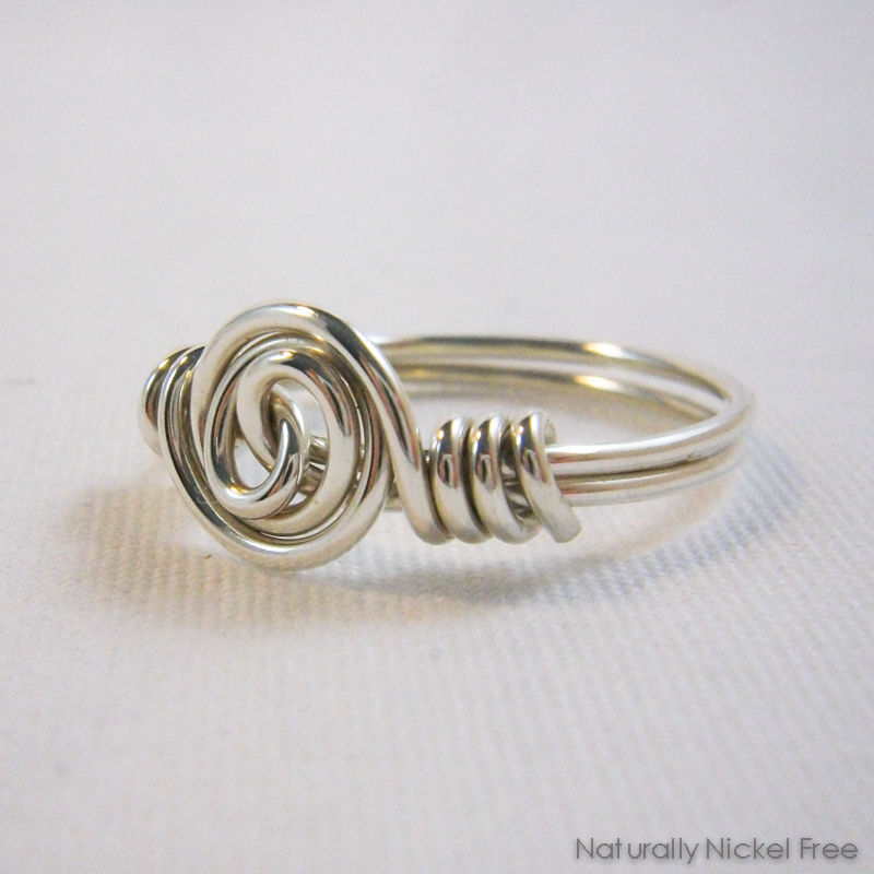 Argentium Sterling Silver Spiral Rosette Wire Wrapped Ring Made to