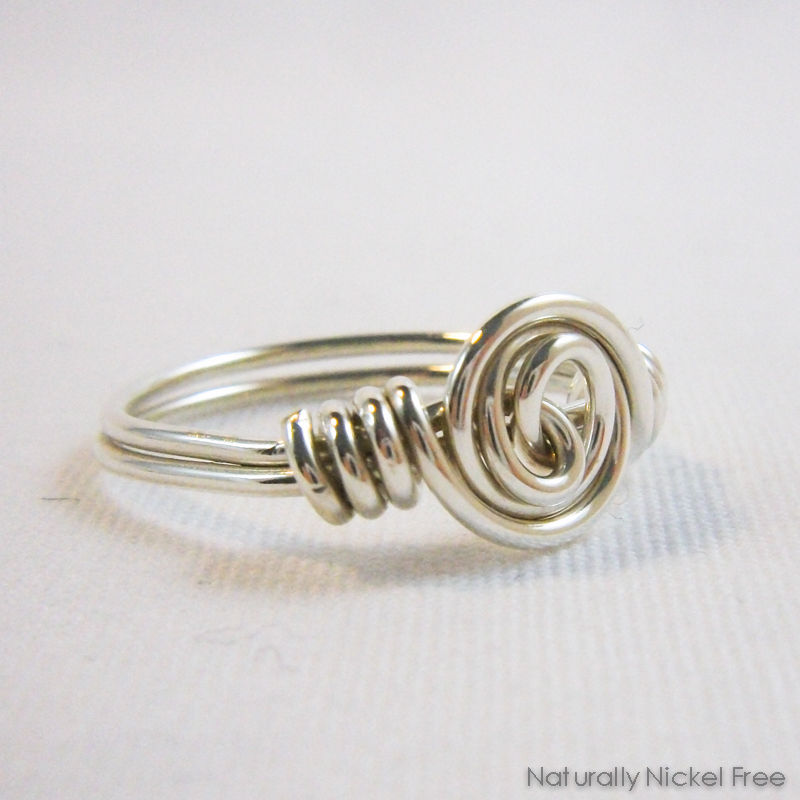 Argentium Sterling Silver Spiral Rosette Wire Wrapped Ring, Made to Order - product image