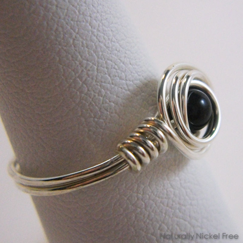 Onyx Wire Wrapped Ring in Argentium Sterling  Silver, Made to Order - product images  of