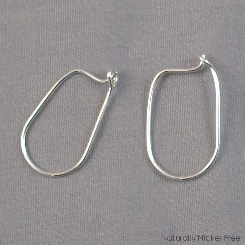 Argentium Sterling Silver Oval Post Hoop Earrings - product images  of