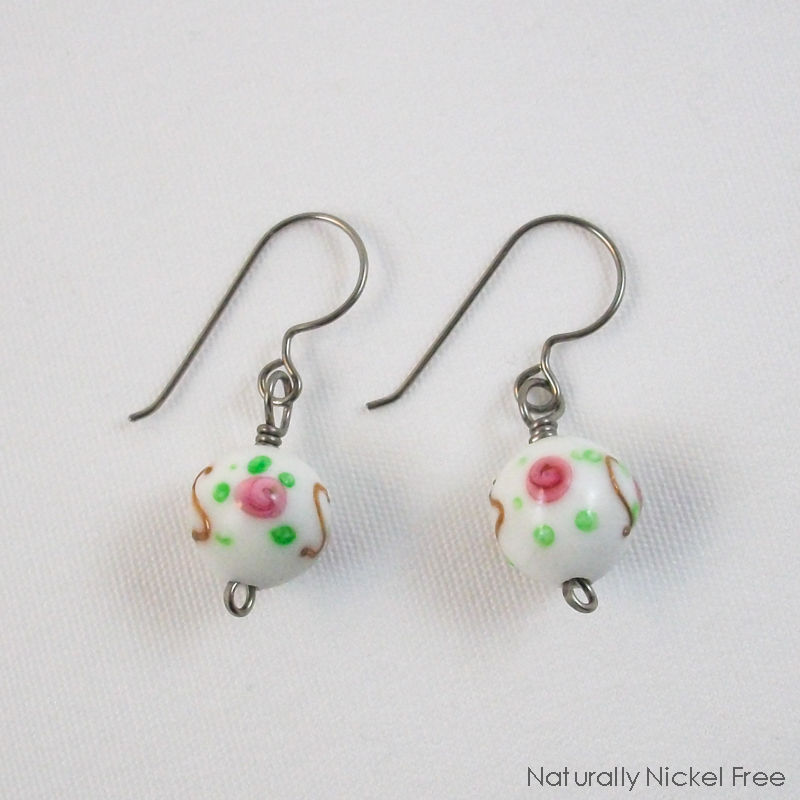 Rose Dangle Bead Earrings with Niobium Earwires - product images  of