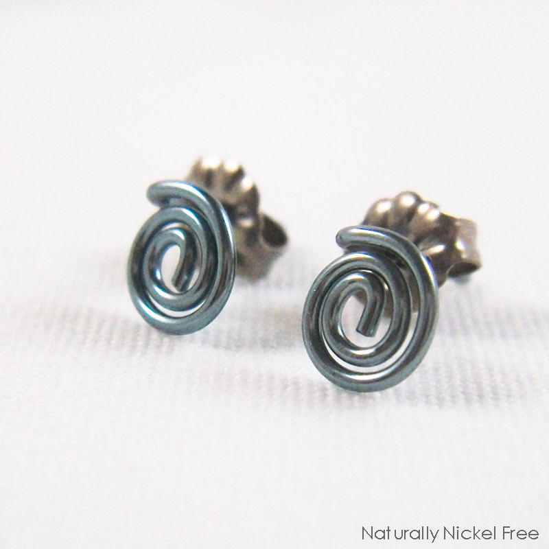 Niobium Spiral Post Earrings, Choose Your Color - product image