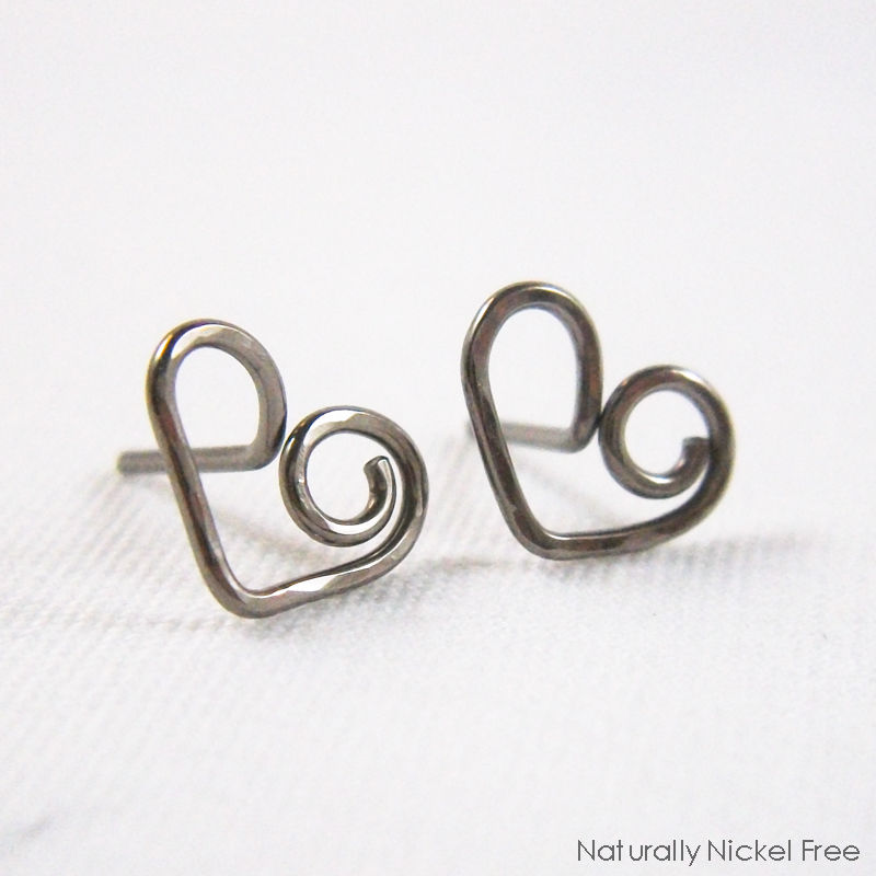 Heart Post Earrings in Niobium, Choose Your Color - product images  of
