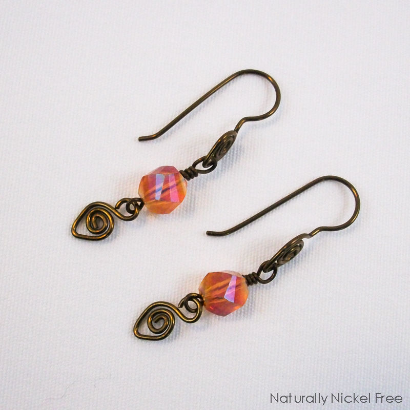 Amber Glass Spiral Niobium Dangle Earrings - product images  of