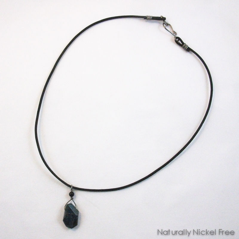 Brazilian Apatite Bead Necklace with Onyx Accent - product images  of