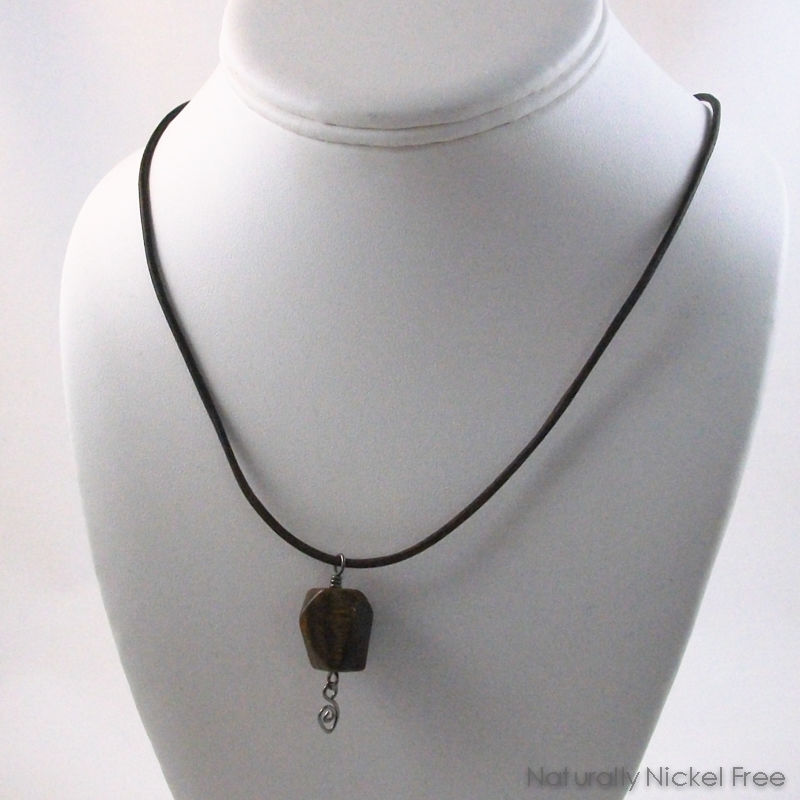 Tiger Eye Necklace with Niobium Dangle and Leather Cord - product images  of
