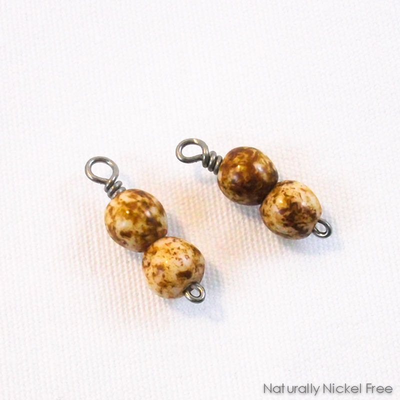 Brown Jasper Bead Niobium Charms for Earrings - product images  of