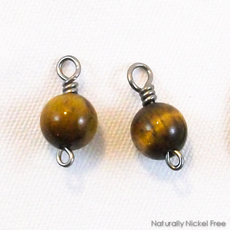 Tiger Eye Bead Niobium Charms for Earrings - product images  of