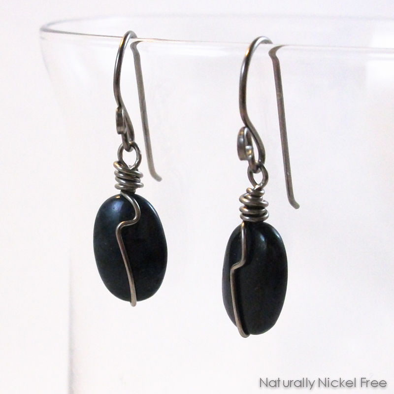 Dark Blue Dumorterite Gemstone Wire Wrap Earrings  - product image