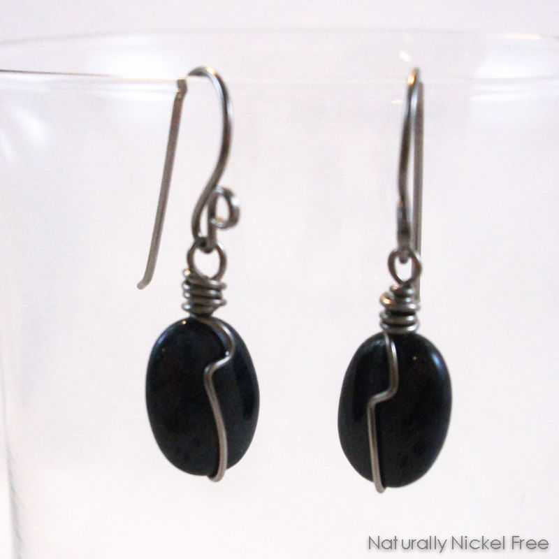 Dark Blue Dumorterite Gemstone Wire Wrap Earrings  - product images  of