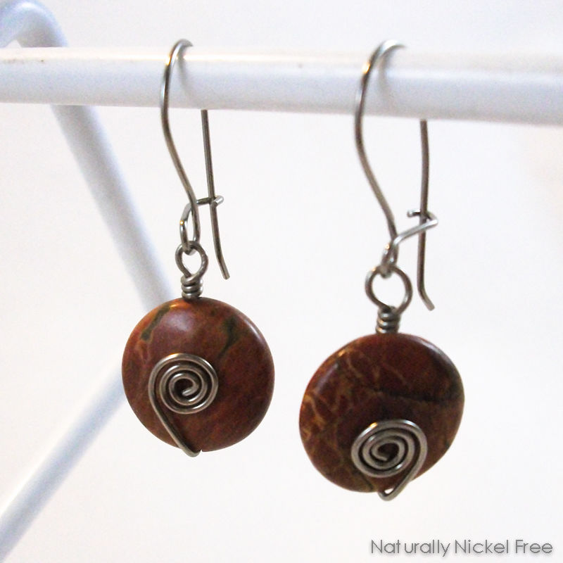 Red River Creek Jasper Niobium Dangle Earrings with Loop n Latch Earwires - product images  of