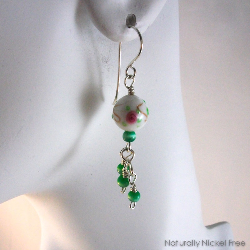 White Glass Bead Earrings Rose Design with Green Bead Tassel - product images  of
