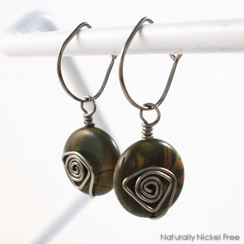 River Creek Jasper Niobium Post-Hoop Earrings - product image
