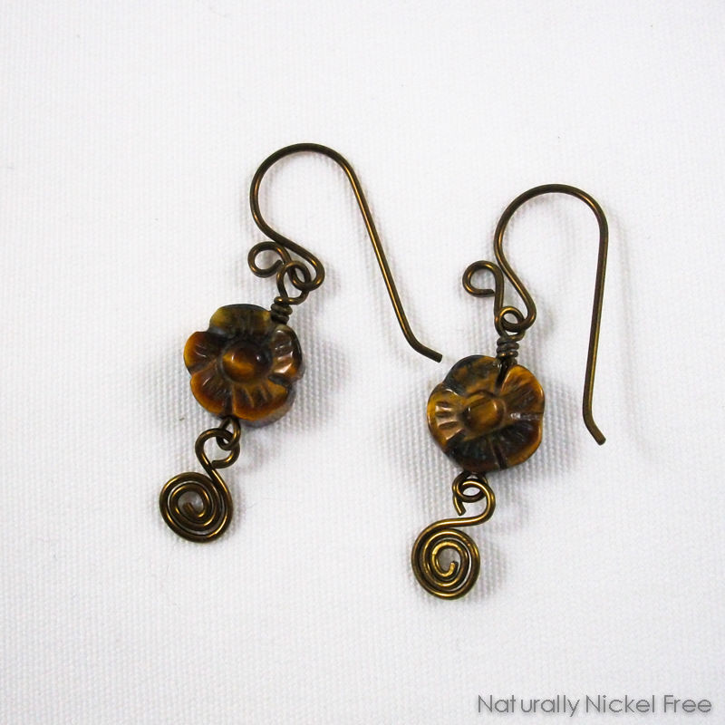 Tiger Eye Flower Earrings with Niobium Earwires - product images  of