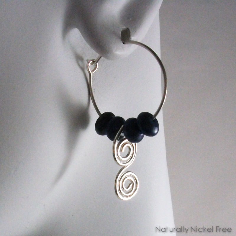 Lapis Lazuli Hoop Earrings Argentium Silver with Spiral Dangle - product images  of