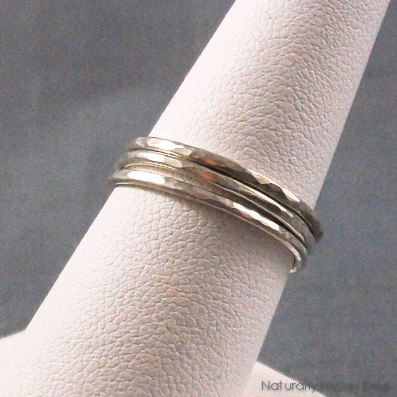 Hammered Thin Stacking Rings, Argentium Silver Set of 3 - product image