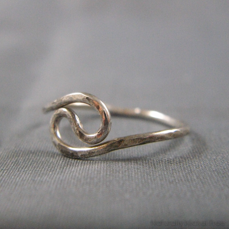 Hammered Yin-Yang Wire Ring in Argentium Sterling Silver - product images of ...