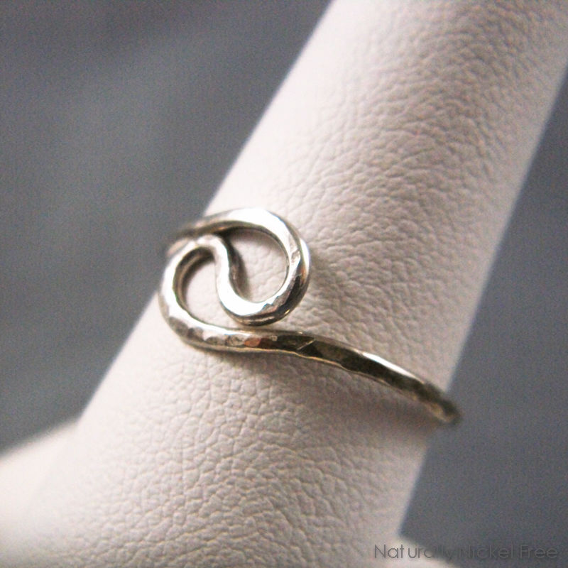 Hammered Yin-Yang Wire Ring in Argentium Sterling Silver - product images  of