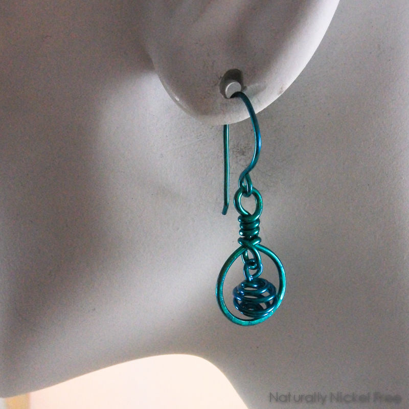 Niobium Framed Wire Spiral Dangle Earrings Teal - product images  of