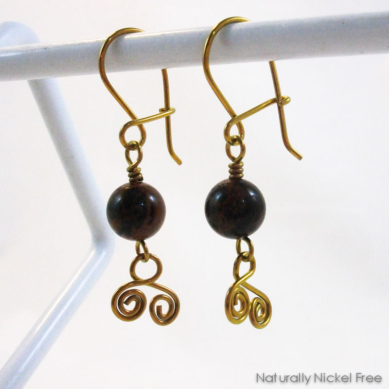 Mahogany Obsidian Spiral Dangles with Niobium Earwires - product images  of