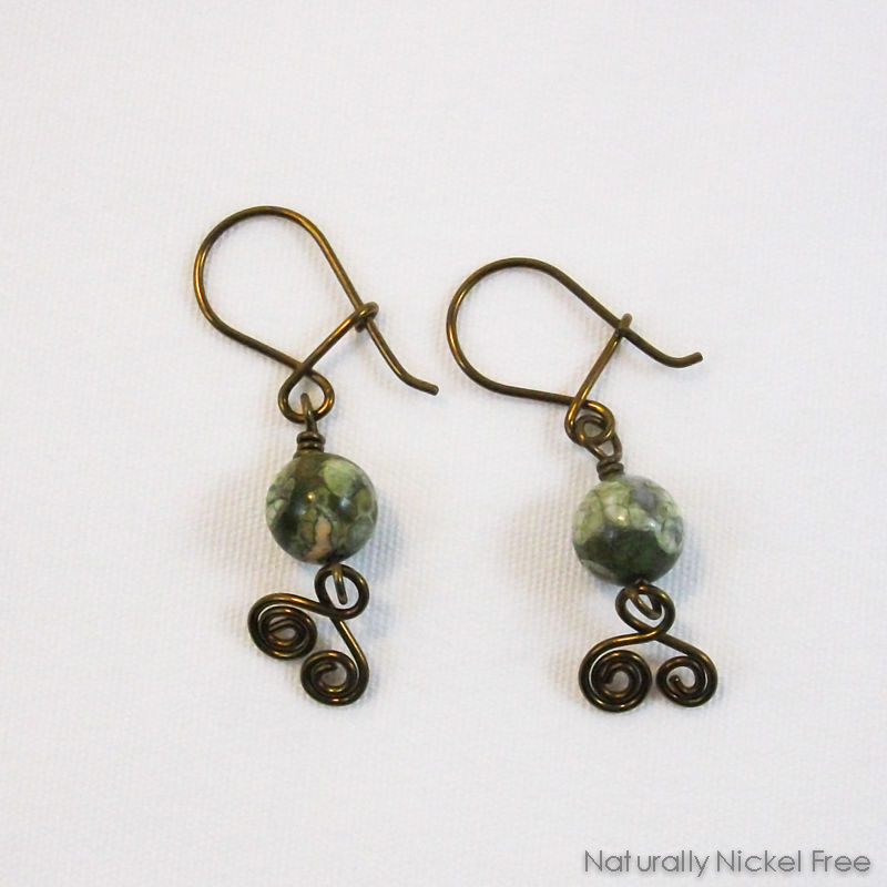 Green Jasper Spiral Dangles with Niobium Earwires - product image